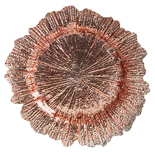 (Koyal Wholesale Bulk Flora Glass Charger Plates, Set of 4, Rose Gold, Starburst Charger Plates, Reef Charger Plates)