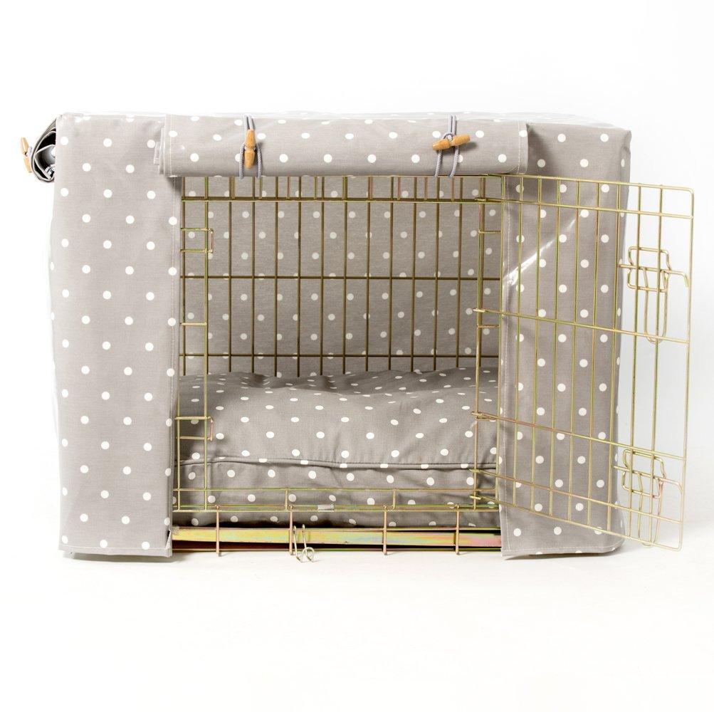 Cubierta para jaula/jaula de lunares de color gris oculto para mascotas en el hogar, tamaño: grande (42