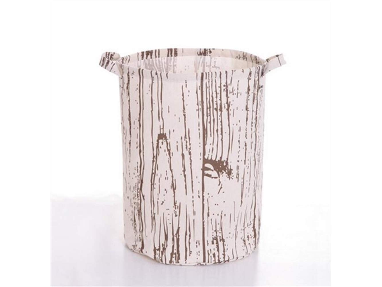 Storage Box Wood Grain Pattern Tote Storage Basket Storage Bag Cotton and Linen Storage Box Sundries Storage Bucket(White)