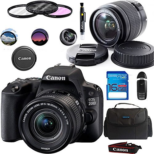 Canon EOS 200D/Rebel SL2 Kit with EF-S 18-55mm f/4-5.6 IS STM Lens Digital SLR Cameras (Black) – Deal-Expo Essential Accessories Bundle