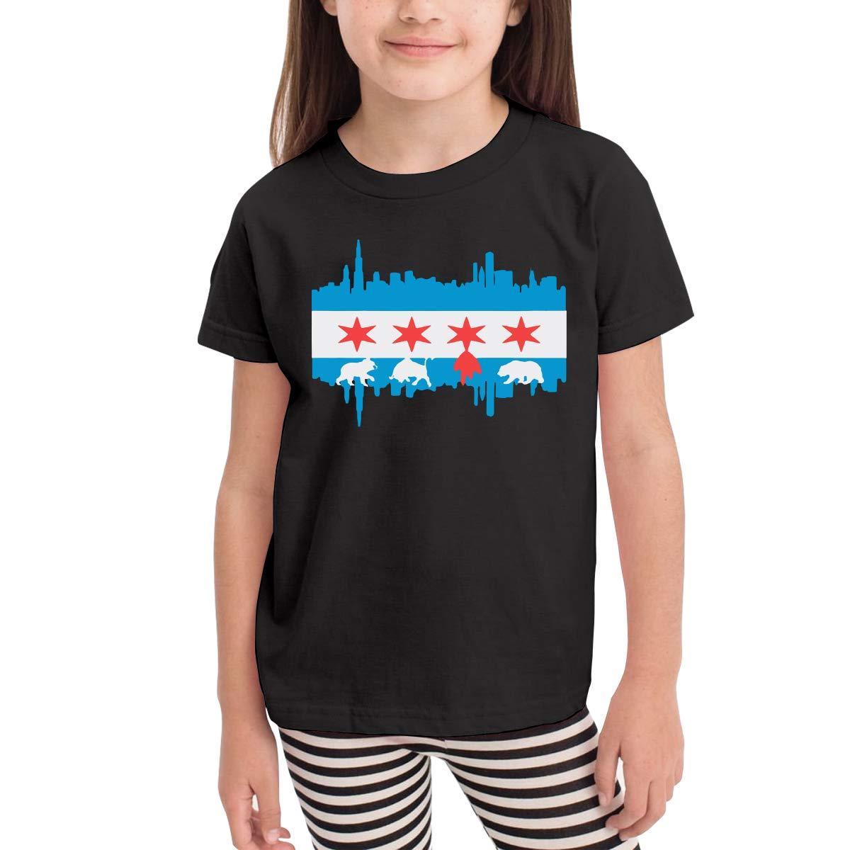 Baby Girls Kids Chicago Flag Skyline Bear Cute Short Sleeve Tee Tops Size 2-6
