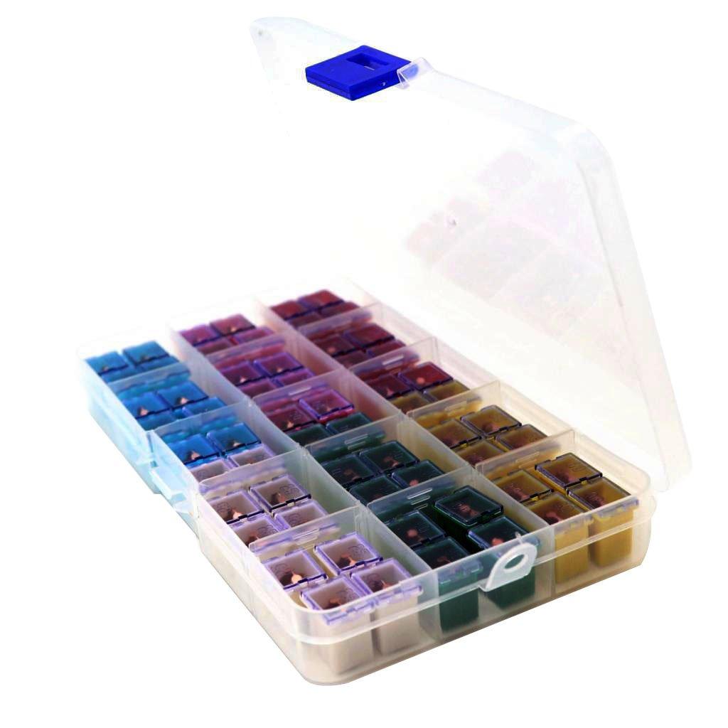 APS Baoblaze 60 Pieces Jcase Fuse Assortment Box Shaped 20A 25A 30A 40A 50A 60A Copper