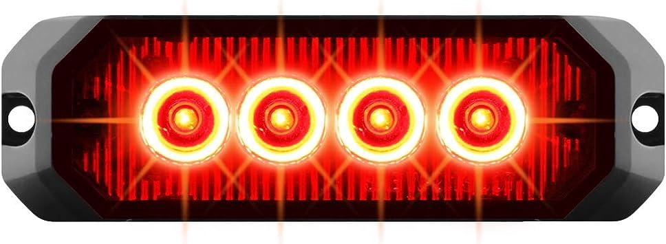 GG Grand General 81812 Red//Red LED Strobe Light 5 Rectangle 6, 14 Modes, 9~36V