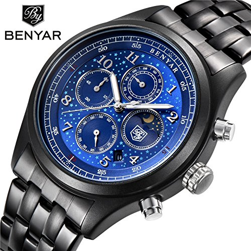 Mens Watches With Auto Date Chronograph Watch Men Sports Watches Waterproof Black Steel Quartz Men's Watch-Blue