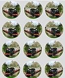 12 Train À Vapeur papier de riz fée / cupcake 40mm toppers pré coupe décoration