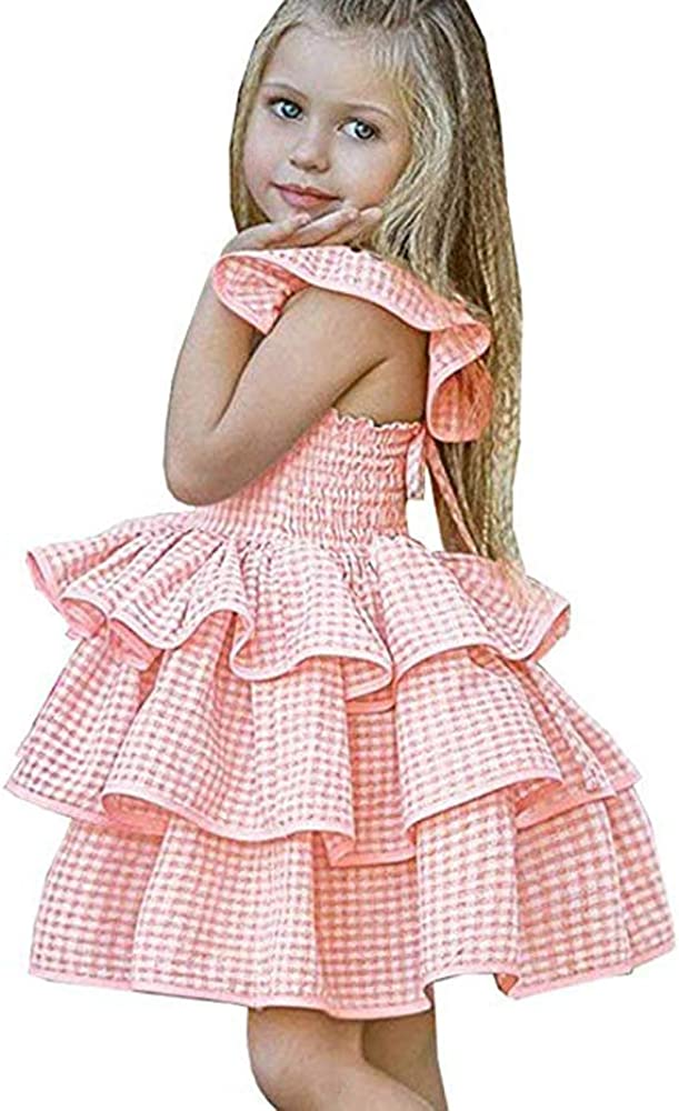 HUAER& Toddler Baby Floral Dress Girl Backless Fashion Sleeveless Vest Braces Skirt Sundress