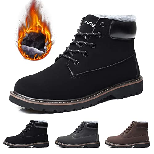 e4803016ae851 gracosy Mens Warm Boots Autumn Winter Causal Outdoor Ankle Sude Rubber Boots  Lace Up Fur Lining Round Toe Snow Boots Work Formal Footwear Shoes Non Slip  ...