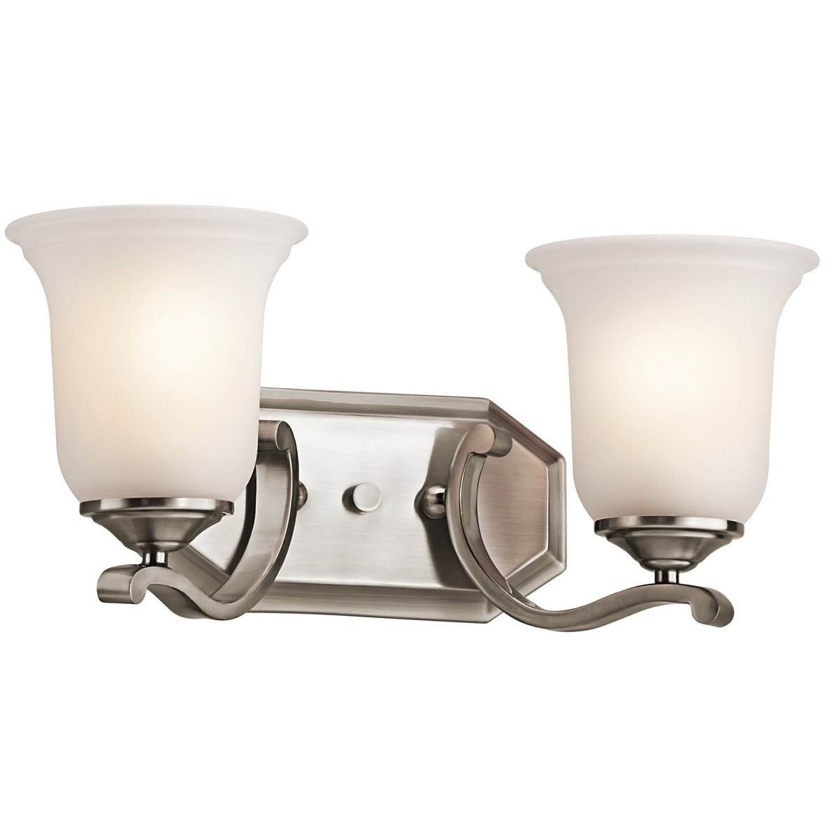 "Kichler 45402CLP Bath Vanity Wall Lighting Fixtures, Brushed Nickel 2-Light (16"" W x 8"" H) 200 Watts"