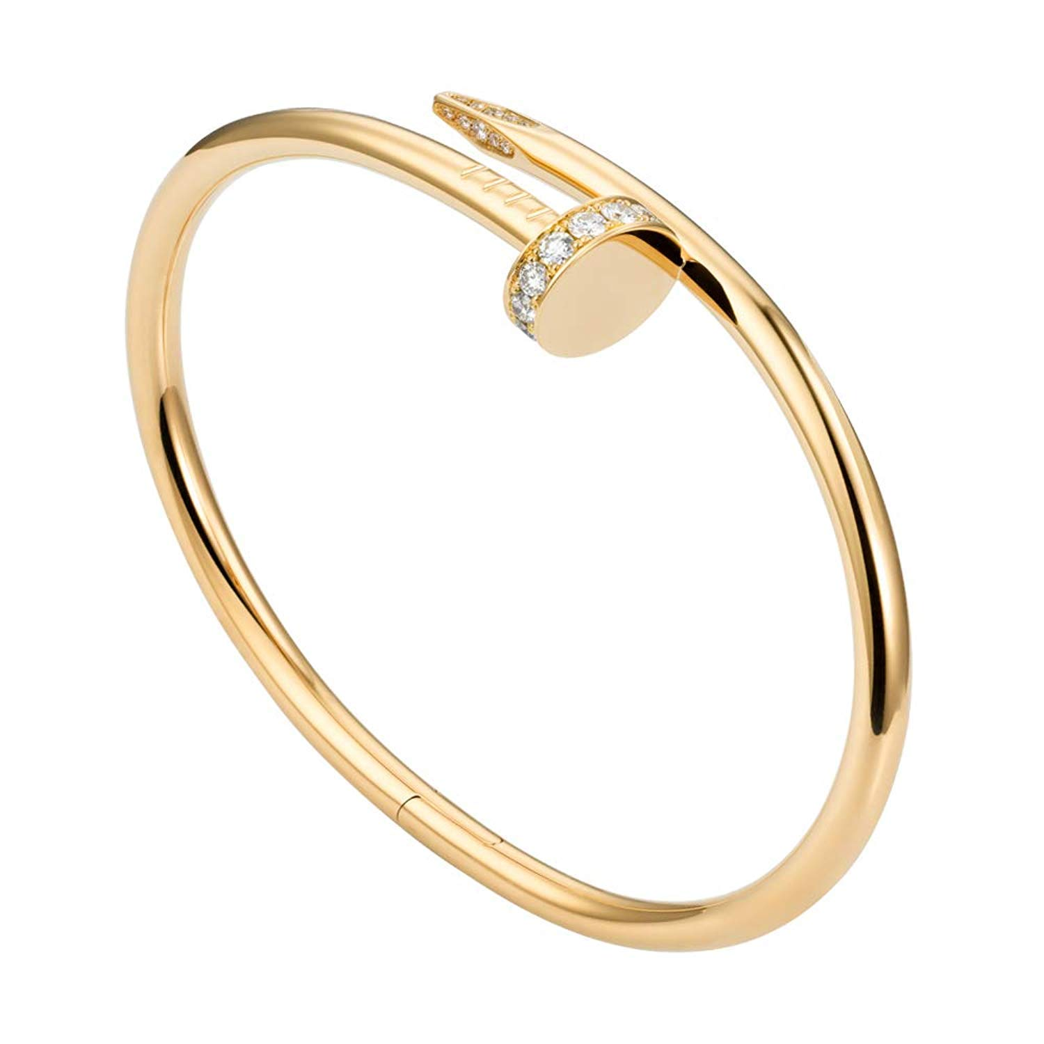 671cafa5e445b ... L&H Jewelry - Womens Stainless Steel Nail Love Bangle Bracelet - Rose  Gold Color Box Included ...