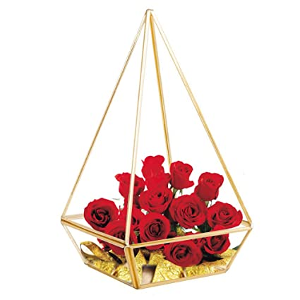 HOMEIDEAS Modern Clear Glass Pyramid Tabletop Geometric Polyhedron Terrarium Box Decorative Succulent Plants Holder