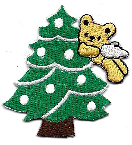 2.5 X 2.75 inches Christmas Tree With Angel Teddy Bear Embroidered Iron On / Sew On Patch (Polar Bear Costumes Pattern)