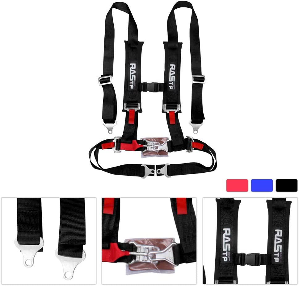 RASTP 4 Point Safety Harness Set Seat Belt with Ultra Comfort Heavy Duty Shoulder Pads,Black Pack of 1