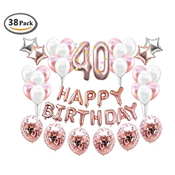 18th 40th Birthday Rose Gold Balloons Decorations Set With Happy