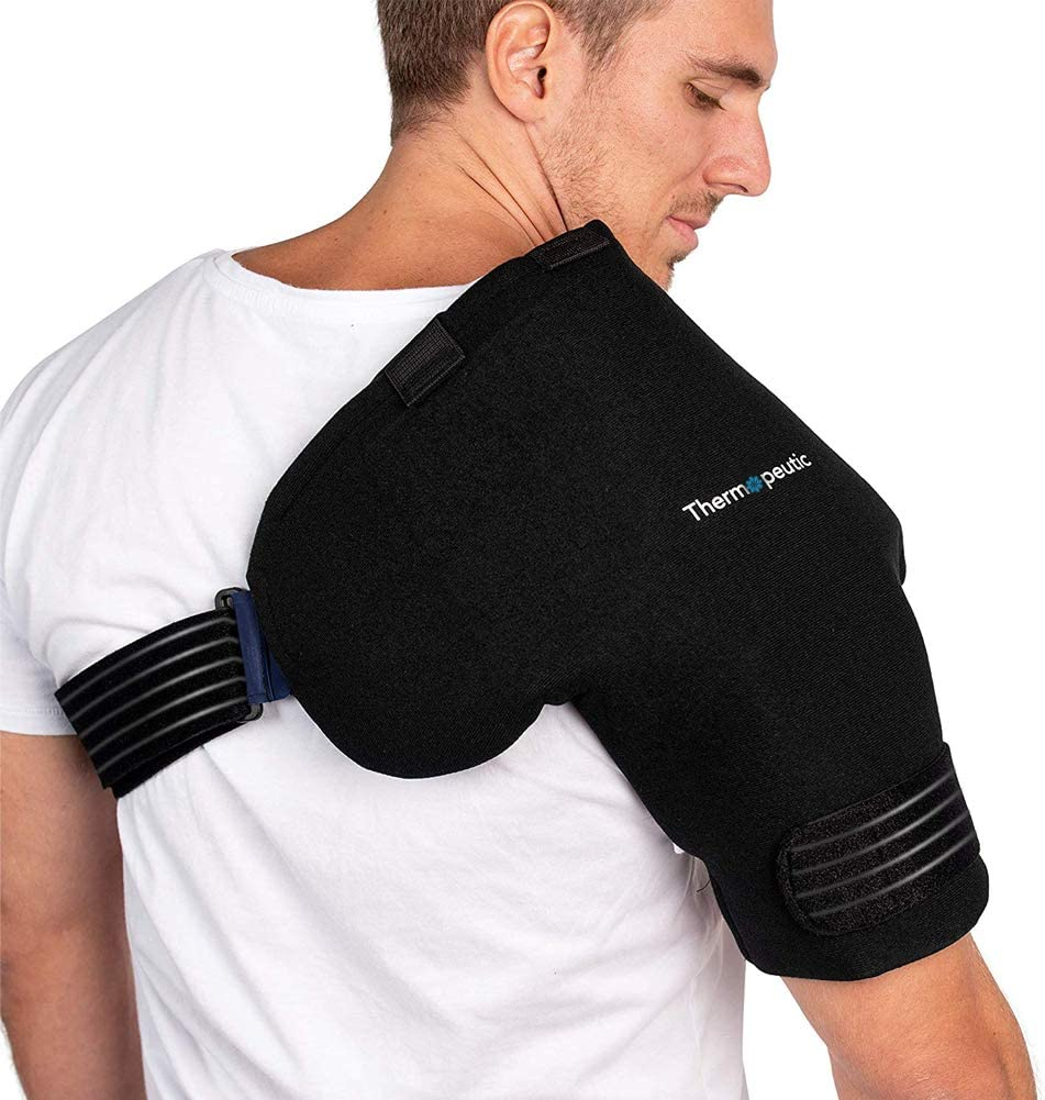 Amazon Com Thermopeutic Shoulder Compression Ice Cold Gel Wrap For Shoulder Injuries Medium To Large Frame Fit Rotator Cuff Rheumatoid Arthritis Bursitis Osteoarthritis Tendinitis Ac Joint Pain Relief Sports Outdoors