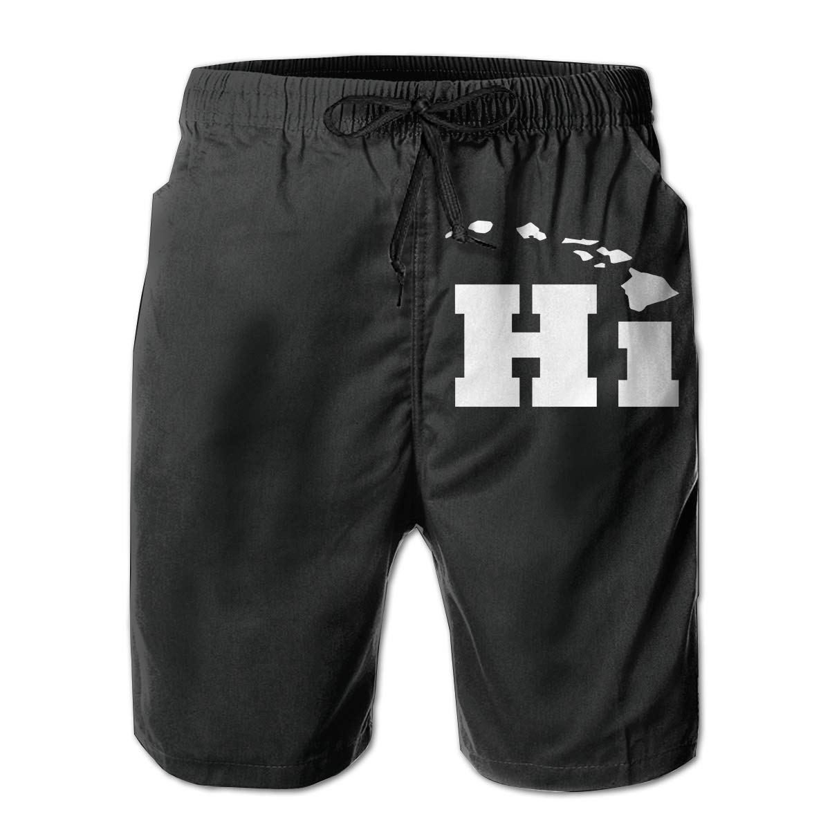 Xk7@KU Mens Quick Dry Swim Trunks Polyester Hi with Hawaii Island Swimsuit with Pockets