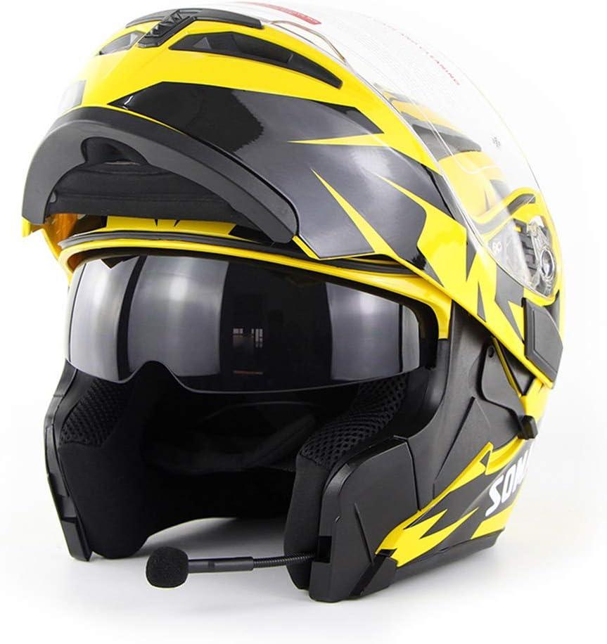 WMING Motocicleta Bluetooth Casco/Multi-Función De Doble Lente Anti-Niebla Casco con Auricular Bluetooth/Hombres Y Mujeres Cuatro Estaciones Casco Seguro Flip