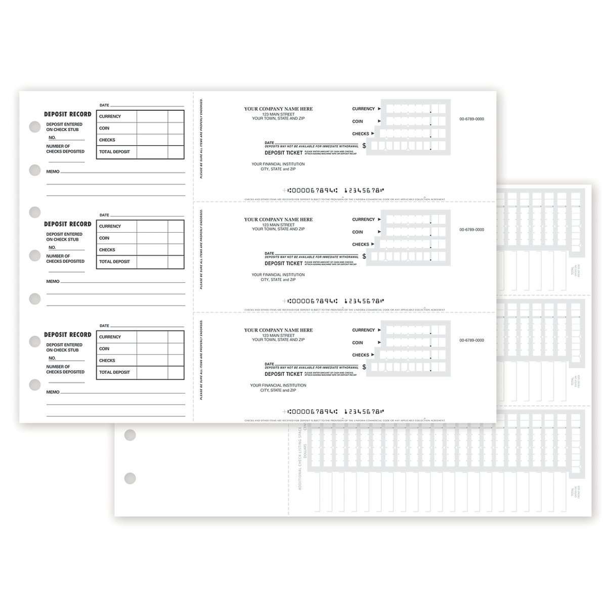 3-To-A-Page Deposit Slips - Manual w/Stubs for Business Deposits (150 qty) - Custom