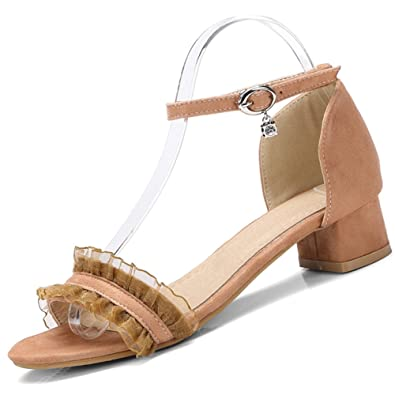 46e0cae79d9 SaraIris Women s Chunky Mid Heel Ruffles Decoration Open Toe Shoe Ankle  Strap Dress Sandals Apricot