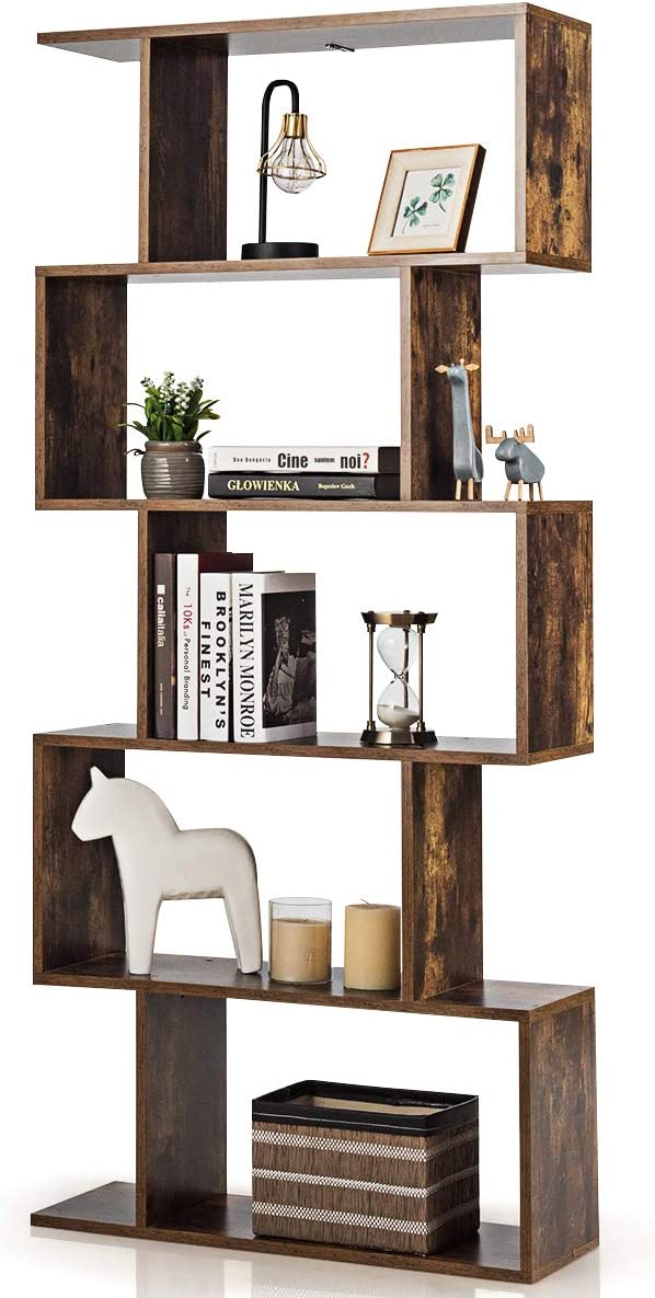 COSTWAY Wooden Bookcase, 5/6 Tiers Freestanding Storage Shelf, Home Office Industrial Decorative Bookshelf Display Stand Rack (Brown, 70 x 24 x 158cm)