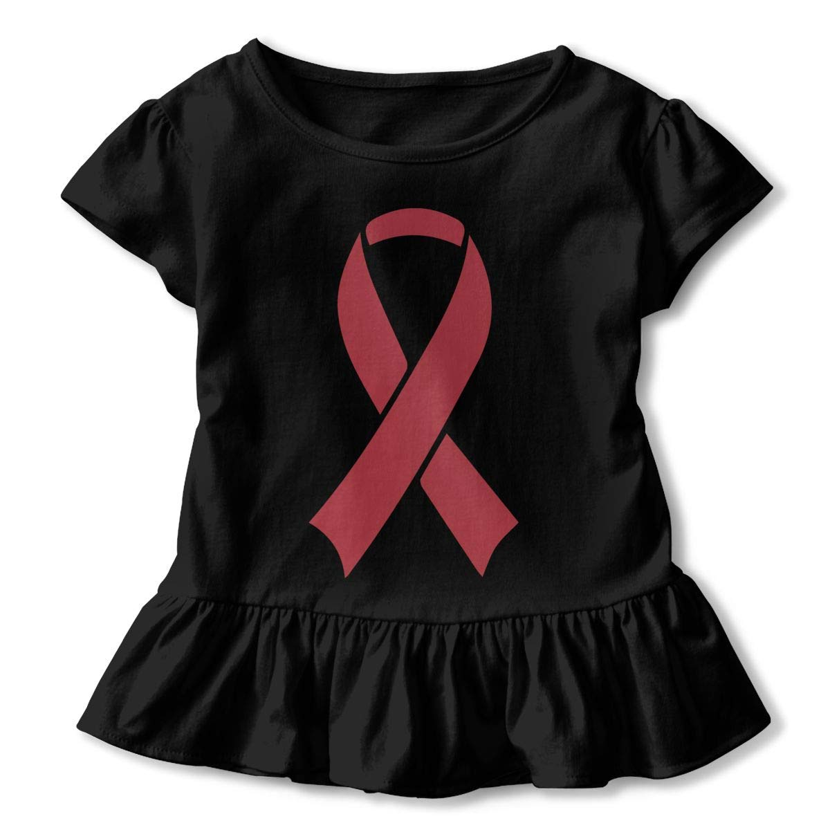 Multiple Myeloma Awareness Ribbon Kids Girls Short Sleeve T Shirts Ruffles Shirt T-Shirt for 2-6T