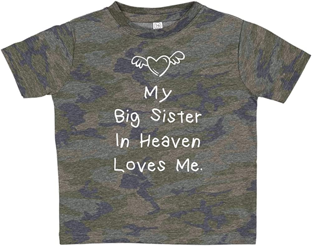 Toddler//Kids Short Sleeve T-Shirt My Big Sister in Heaven Loves Me