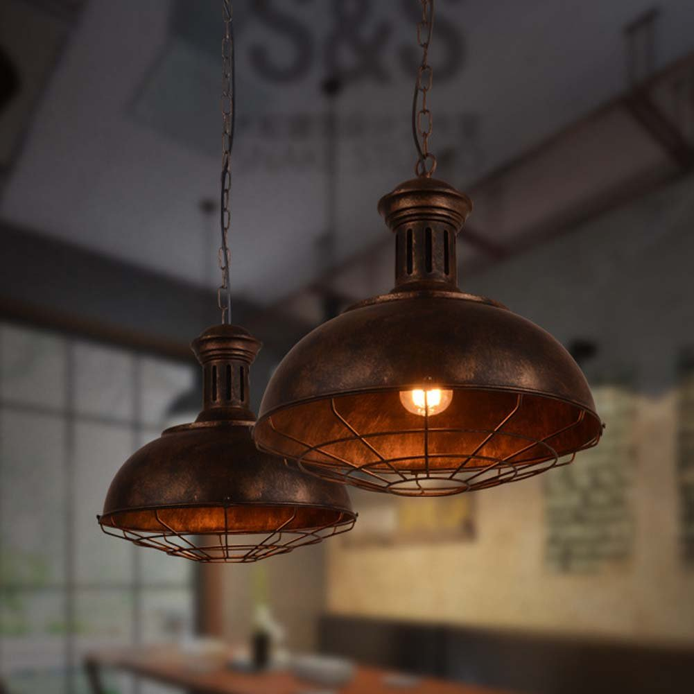 Neo-Industrial Nautical Barn Cage Pendant Light - LITFAD 16'' Single Pendant Lamp with Rustic Dome/Bowl Shape Mounted Fixture Ceiling Light Chandelier in Copper by LITFAD (Image #5)