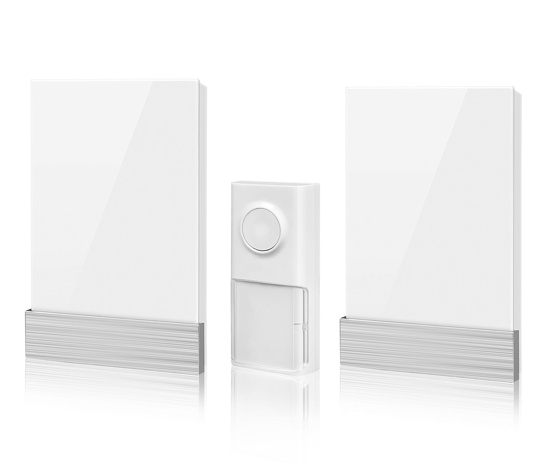 Wireless Doorbell, Nekteck Plug-in Doorbell Chime Battery-Free Kinetic Push Button Transmitter with Over 25 Musical Tones, 3 Volume Levels [150m Range/IP44 Water Proof] - [1 Button & 2 Plugin Chime]