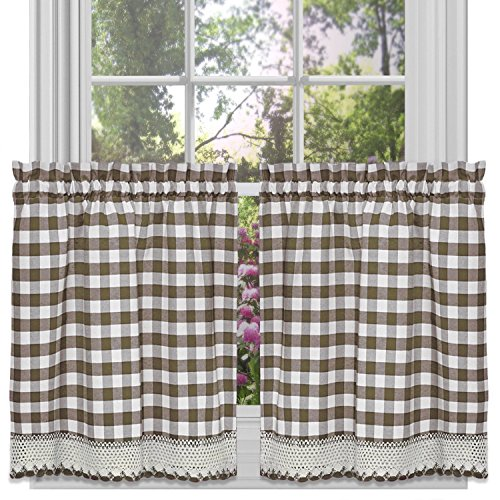 Achim Home Furnishings Buffalo Check Tier Pair, 58-Inch by 24-Inch, Taupe