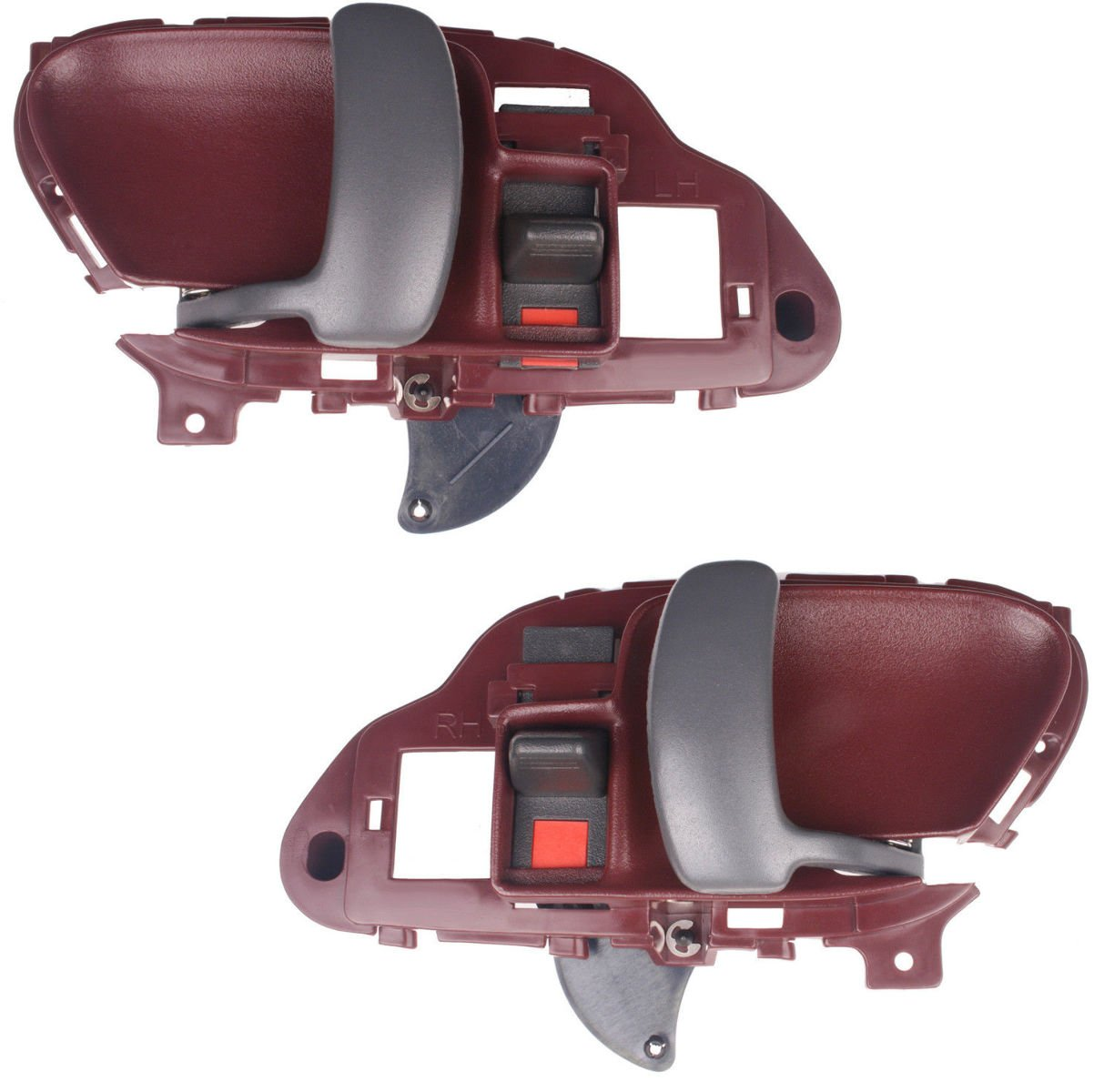 NEW Front Inside Door Handle RED Pair Set Fits 95-98 Chevrolet Silverado GMC Sierra Truck, 95-99 Suburban Tahoe Yukon Driver and Passenger Aftermarket
