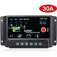 Sunix 30A Regulador de Carga, 12V-24V Controlador de Carga de Inteligente PWM Panel Solar, Protección contra Sobrecarga…