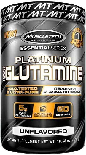 MuscleTech Glutamine Powder, 100 Ultra Pure L-Glutamine for Muscle Endurance Recovery, 60-Day Supply, 10.58 oz 300g