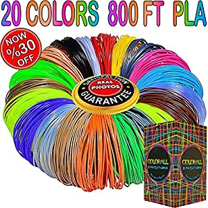 COLORALL 3D Pen Filament Refils 1.75mm PLA Mega Kit/Set with Individual Packs for 3D Drawing/Printing Pens and Printers ( Except 3DOODLER) by COLORALL