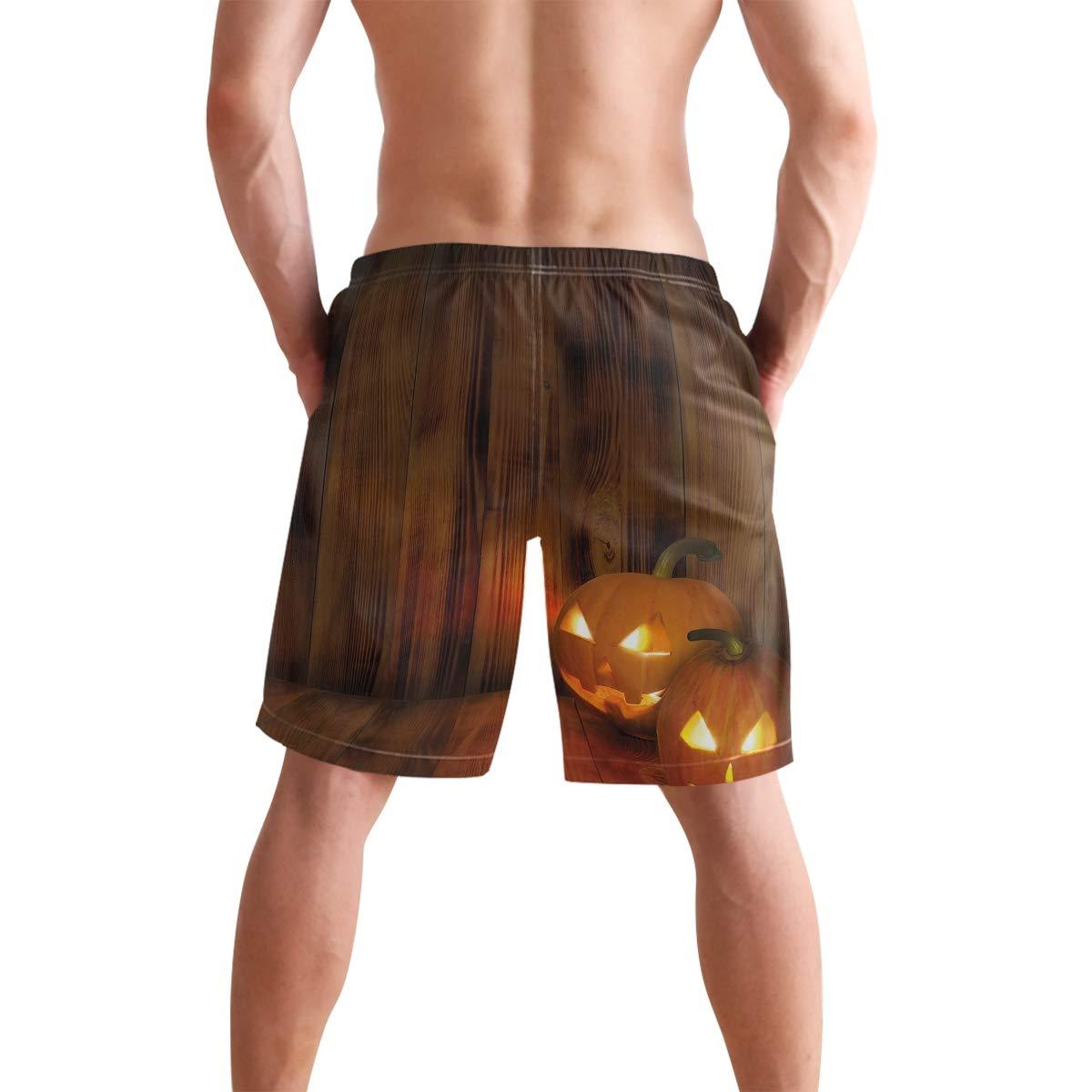 COVASA Mens Summer ShortsJack O Lanterns Scary Halloween Photograph in Wooden