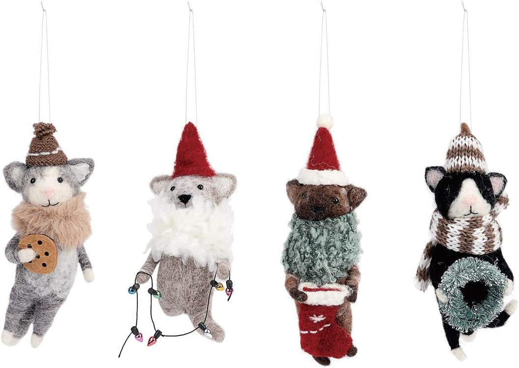 DEMDACO Cozy Time Cat Colorful 6 x 2 Felted Wool Fabric Holiday Ornaments Set of 4