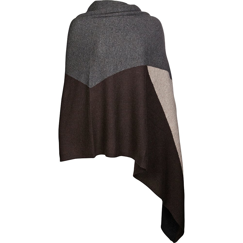 Kinross Cashmere Intarsia Travel Wrap (Charcoal Multi)