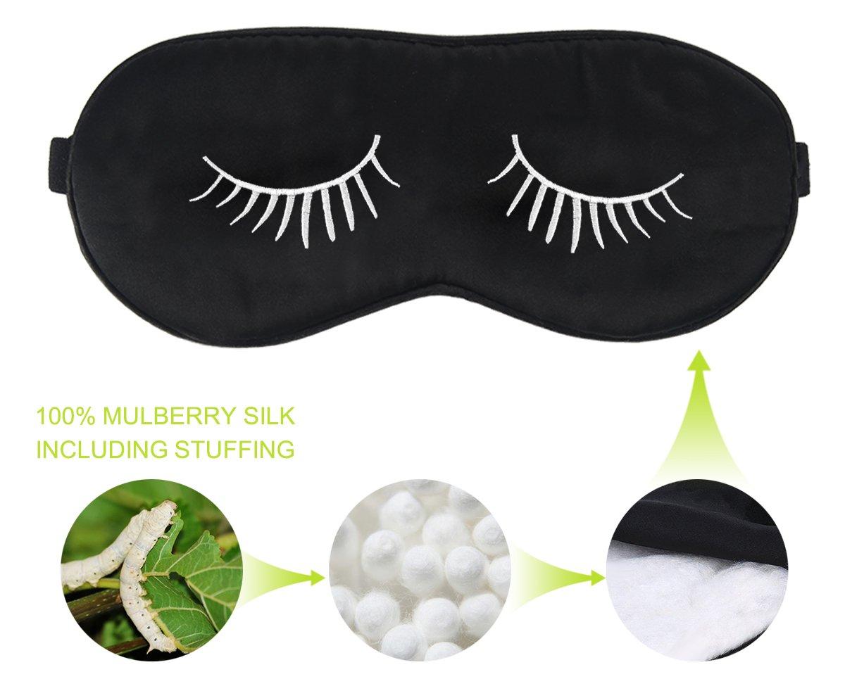e6d52d634 Amazon.com  Fitglam Natural Silk Sleep Mask   Eye Mask with Eyelashes  Patterns   Free Ear Plugs