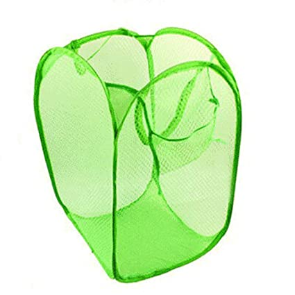 Green Collapsible Laundry Basket Saving Storage Space For Washing Dirty Clothes