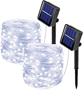 [2 Pack] Outdoor Solar String Lights, ooklee Solar Fairy Lights, 10M 100LED 8 Modes, Waterproof Silver Copper Wire Garden Lights Solar Lights Outdoor for Decoration (Cool White)