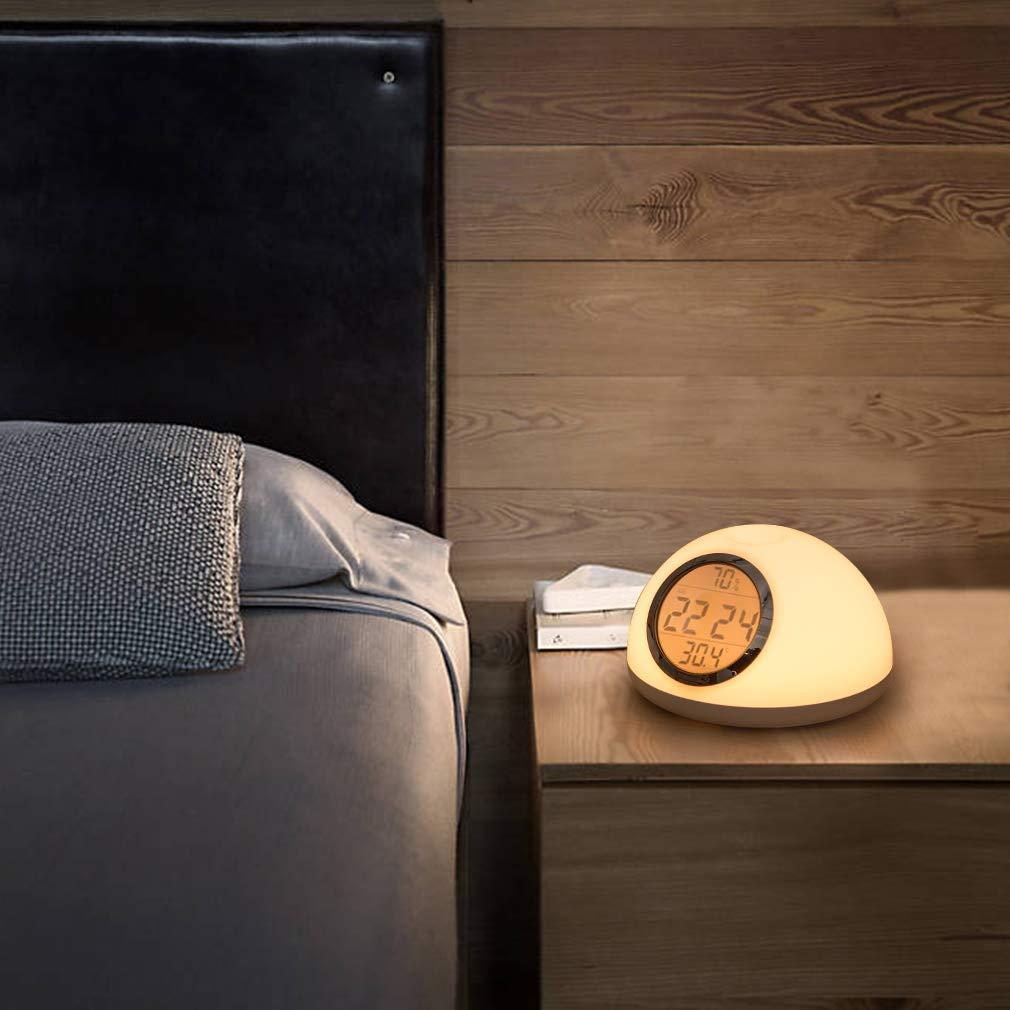 Digitaler Wecker mit Gestenerkennung Wecklicht Snooze Funktion, Nachttischlampen Leselampen, 6 Nat/ürlicher Klang,7 RGB-Farben AURSEN LED Wake up Light Lichtwecker