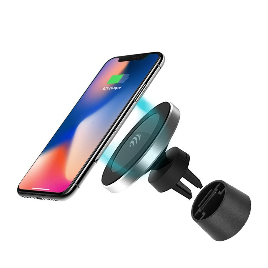 Magnetic Wireless Car Charger - for Apple iPhone X/8/8 Plus, Samsung Galaxy Note 8/S8/S8+/S7/S6 edge+/Note 5 and All QI-Enabled Devices UPGRADED 10W …