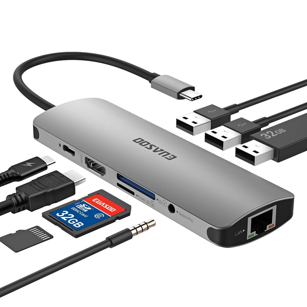 USB C Hub, USB C Adapter, EUASOO 9 in 1 Thunderbolt 3 hub, Multiport USB C to HDMI Adapter Type C Charging Port, USB 3.0 Ports, Ethernet Port MacBook Pro 2017/2016, Chromebook Pixel More