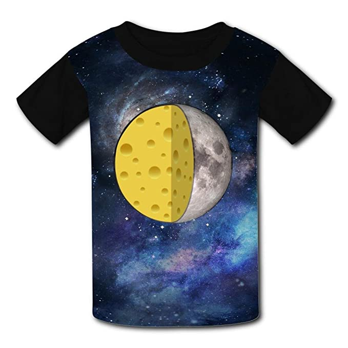 e3e5bcab3904 Image Unavailable. Image not available for. Color  Kids Cheese Moon Section  Summer Casual Short Sleeve Tee Creative 3D Printed ...
