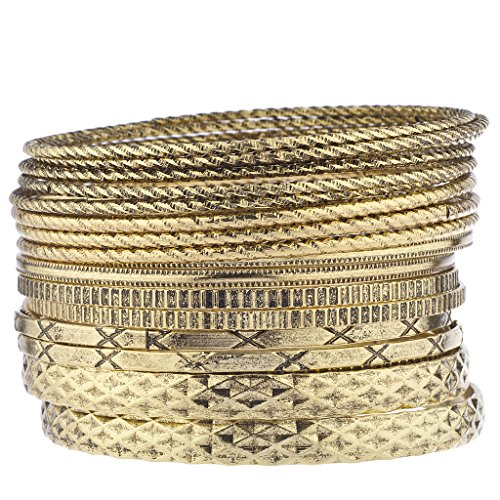 Aztec Bangle - Lux Accessories Burnished Goldtone Mixed Textured Aztec Multi Bangle Bracelet Set