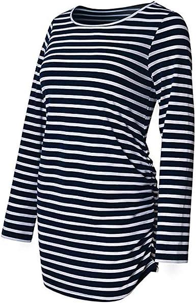SamMoSon Mujer Maternidad Camisa De Rayas Manga Larga Basic Parte Superior Camiseta Embarazada Sujetadores y Lactancia para Ropa Dormir Camisones Camisetas Trajes baño: Amazon.es: Ropa y accesorios