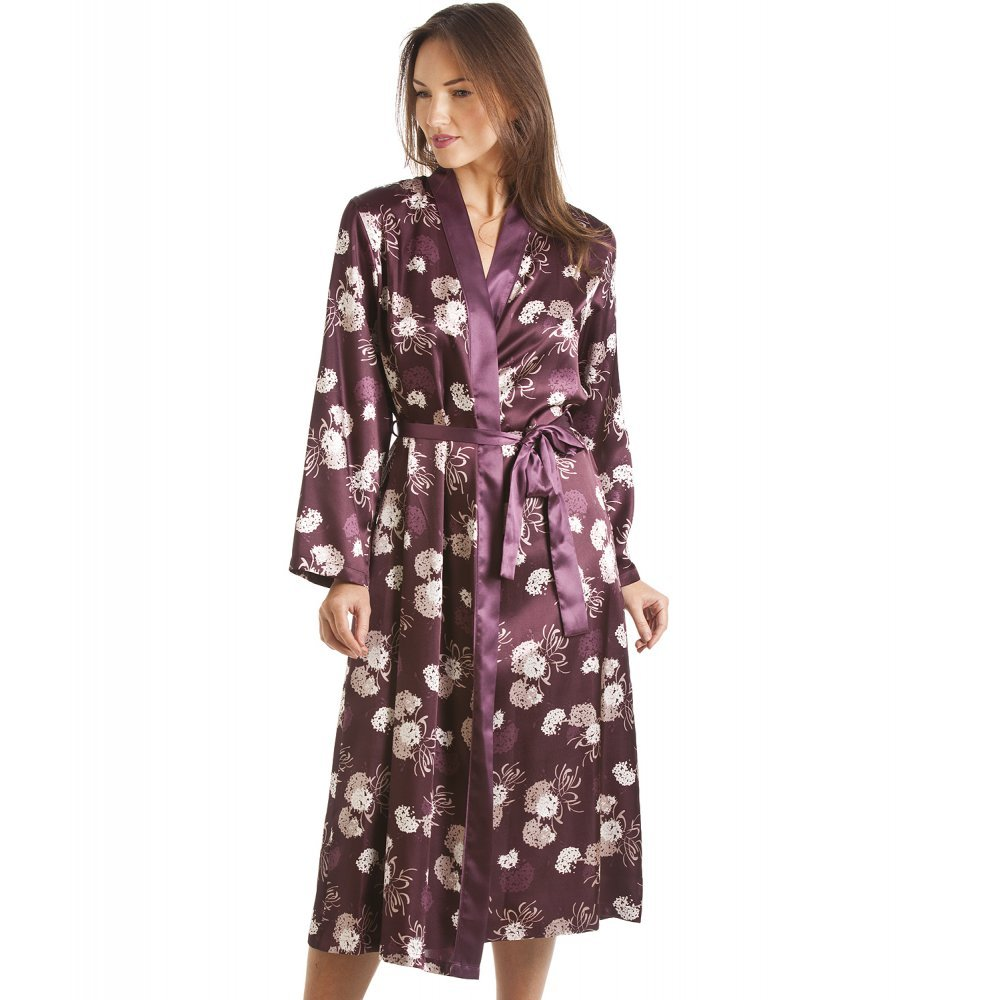 Camille Womens Ladies Dark Purpl Purple Floral Print Long Satin Wrap  Dressing Gown  Camille  Amazon.co.uk  Clothing 5fa29f6eca9e