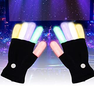 feiledi Trade LED, Luce Up Hand Gloves, Lampeggiante Dita Guanti Rave colorato per Festival/Halloween/Natale/Bonfire Night/Party/Games/Corsa/Sport/Gift, Fits Big Kid e Adulti Mani