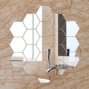 BBA 12pcs Mirrors for Wall, Hexagon Mirror Tiles Self Adhesive, Acrylic Frameless Flexible Decorative Mirror Wall Stickers Decal for Home Bathroom Bedroom Office Decor (Sliver)