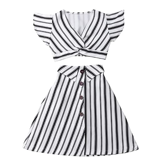 b260731ef6 Amazon.com: Fashion Kids Toddler Girl Short Sleeve Crop Top+Striped Maxi  Skirt Long Dress Summer Outfit 3-8T: Clothing