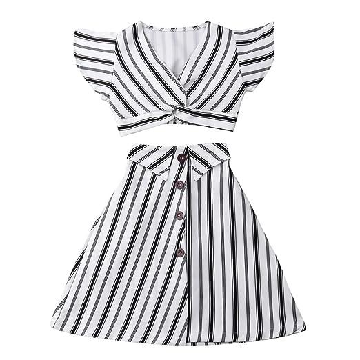 4a7684517ee65 Fashion Kids Toddler Girl Short Sleeve Crop Top+Striped Maxi Skirt Long  Dress Summer Outfit