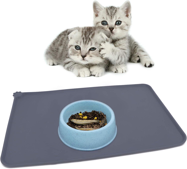 TORQPRO Pet Food Mats Waterproof Anti-Slip Silicone Pet Bowl Drinking Mat Feeding Mats for Dog and Cat Non-Toxic Pet Supplies
